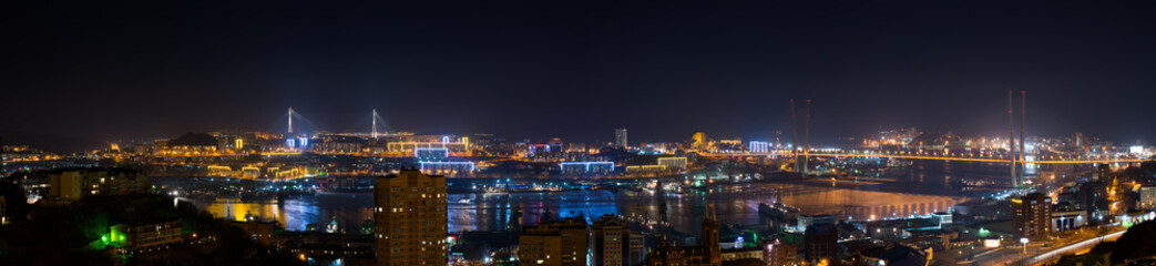 High resolution panorama of Vladivostok cityscape, night view.