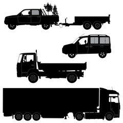 Transportation icons collection - vector silhouette. Working car