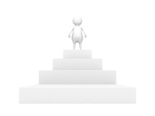 white 3d man on the top of success ladder