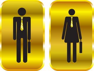 Businessman and businesswoman golden signs