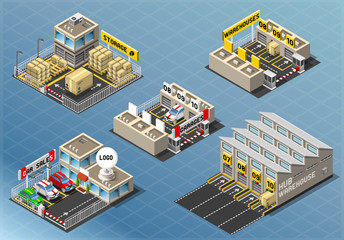 Isometric Building Vector Car City warehouse