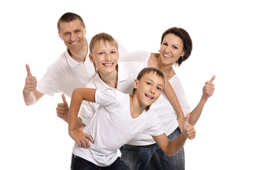 Happy family on a white