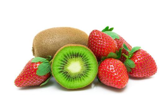 strawberry and kiwi isolated on white background