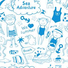 Beach seamless pattern in doodle style