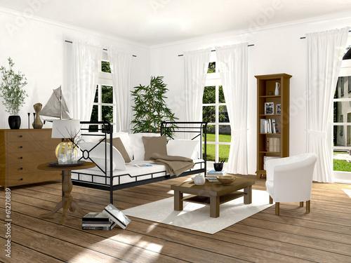 """wohnzimmer im renovierten altbau mit eisensofa"""" stockfotos und, Wohnzimmer"""