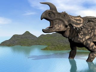 einiosaurus in lake