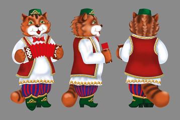 cat musician accordion costume boots