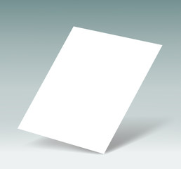 white sheet of paper on a gray background