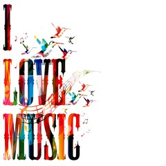 """Colorful vector """"I LOVE MUSIC"""" background with hummingbirds"""