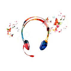 Colorful vector headphones background with butterflies