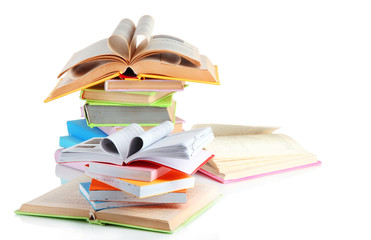 Stacks of books isolated on white