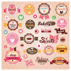 Collection of vintage retro ice cream and bakery labels