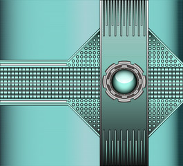 technical background with metallic rivets and glass ball
