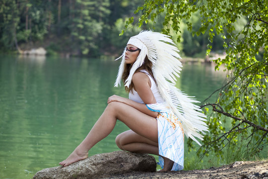 Woman in costume of American Indian
