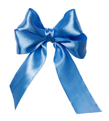blue  bow, ribbon isolated on white