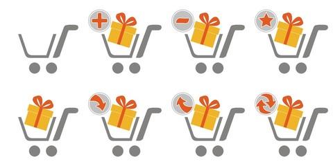 Shopping car web icons - gift box