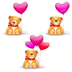 Set of cute teddy bears with in heart balloons, festive icon