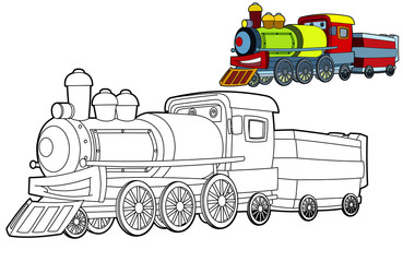 Coloring page - train - illustration for the children