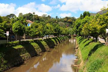Streets and river of Petrópolis, Brazil