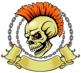punk hair skull
