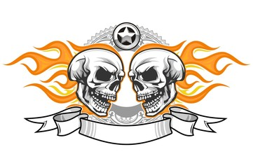 skull and flame