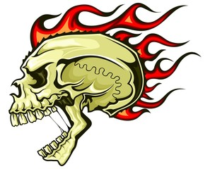 brown flaming skull