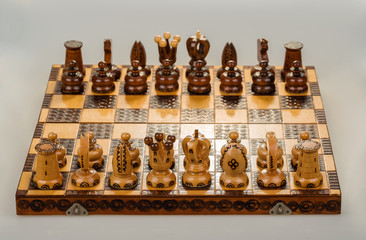 chess board focus to white king and queen