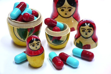 Russian Babushka nesting dolls and capsules 2