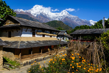 Photo sur cadre textile Népal Ghandruk village in the Annapurna region