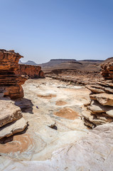 Stone river and waterfall in the dry season, Draa valley (Morocc