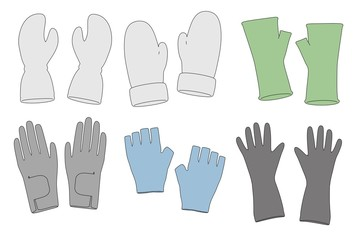 cartoon image of winter gloves