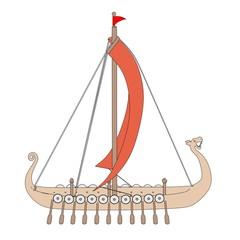 cartoon image of viking ship