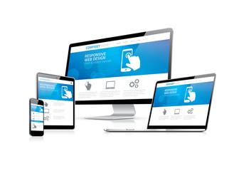 Website coding development with responsive web design concept