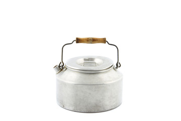 one galvanized tea kettle isolated