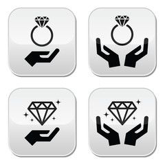 Diamond engagement ring with hands vector buttons