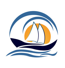 Yacht boat logo design