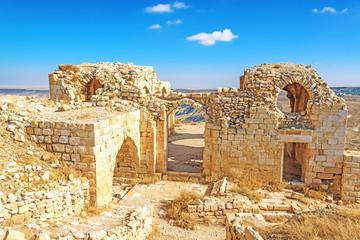 Ruins of Shawbak castle in Jordanian desert, Shawbak, Jordan