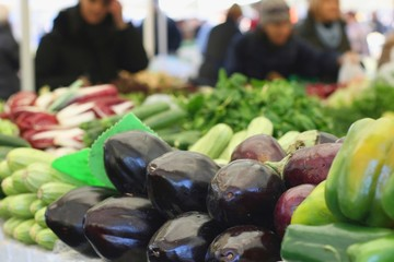 Eggplants (Solanum melongena) on sale, farmers market
