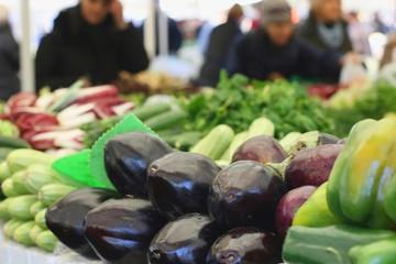 Eggplants (Solanum melongena) on sale