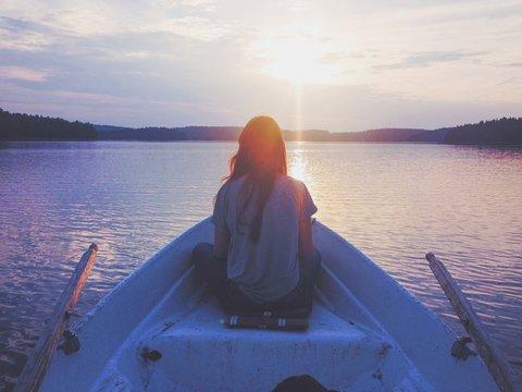 Girl looking into the horizon