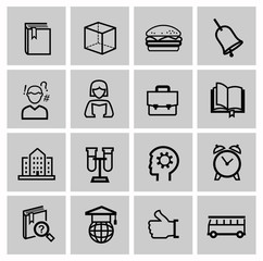 education icons, signs, vector illustration set