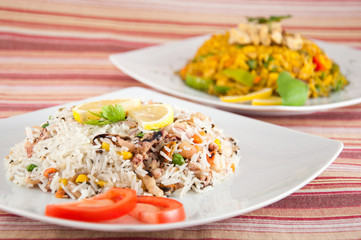 Indian cuisine - Rice with seafood
