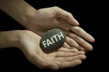 Faith word on stone