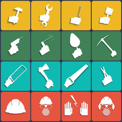 Hand tools icon set vector. Flat Design