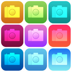 Apps color photo smoth icon set
