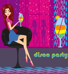 Beautiful disco girl with drink