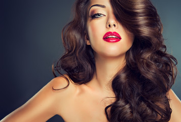 Model with beautiful curle  hair Wall mural