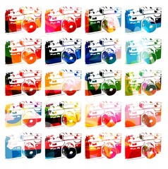 Colorful vector photo camera pattern