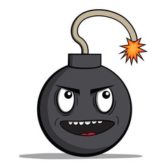 Funny evil cartoon bomb ready to explode. Vector illustration