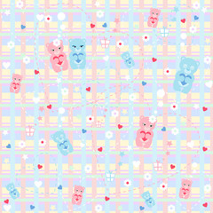 Seamless pattern with a cute bears. Vector illustrations.